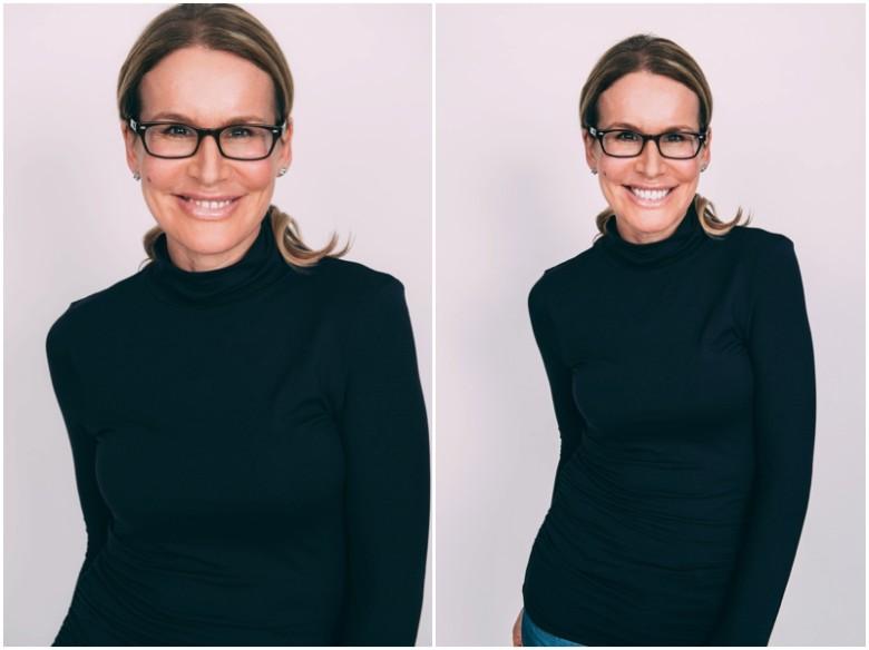 female model with glasses studio portrait