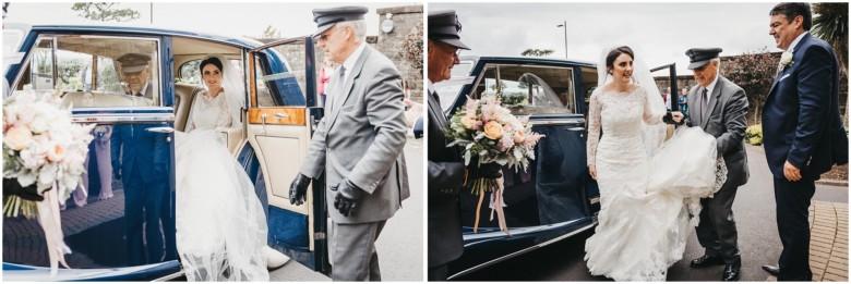 bride arriving in her wedding car