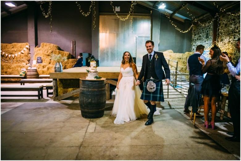 wedding breakfast details in a rustic barn