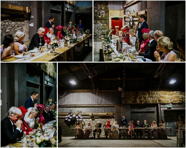 wedding speeches in a rustic barn