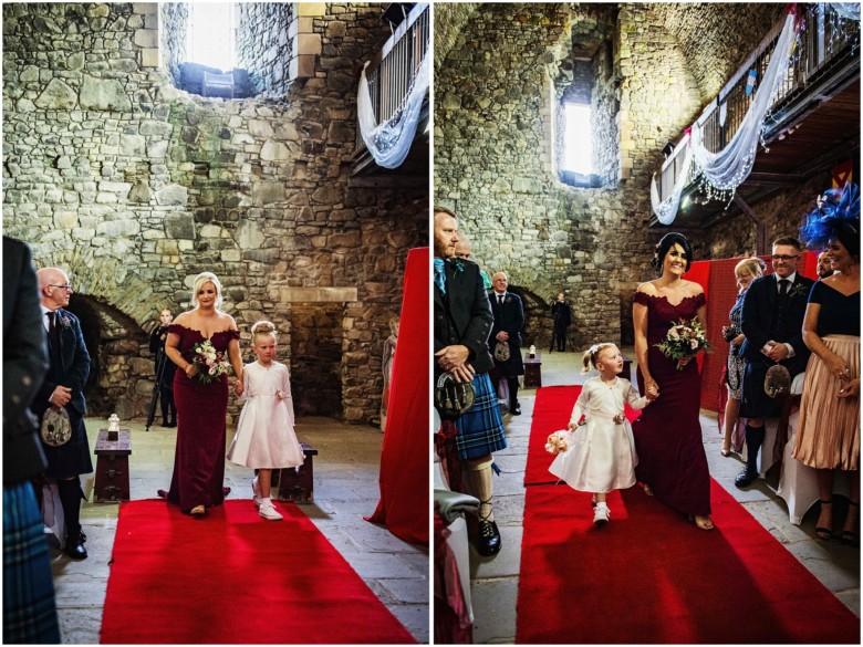 bridesmaids walking up the aisle
