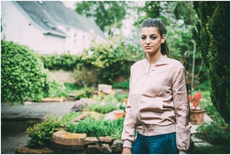 female model portrait in a garden