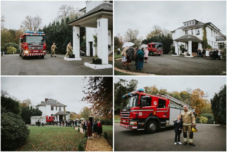 fire engine at a wedding